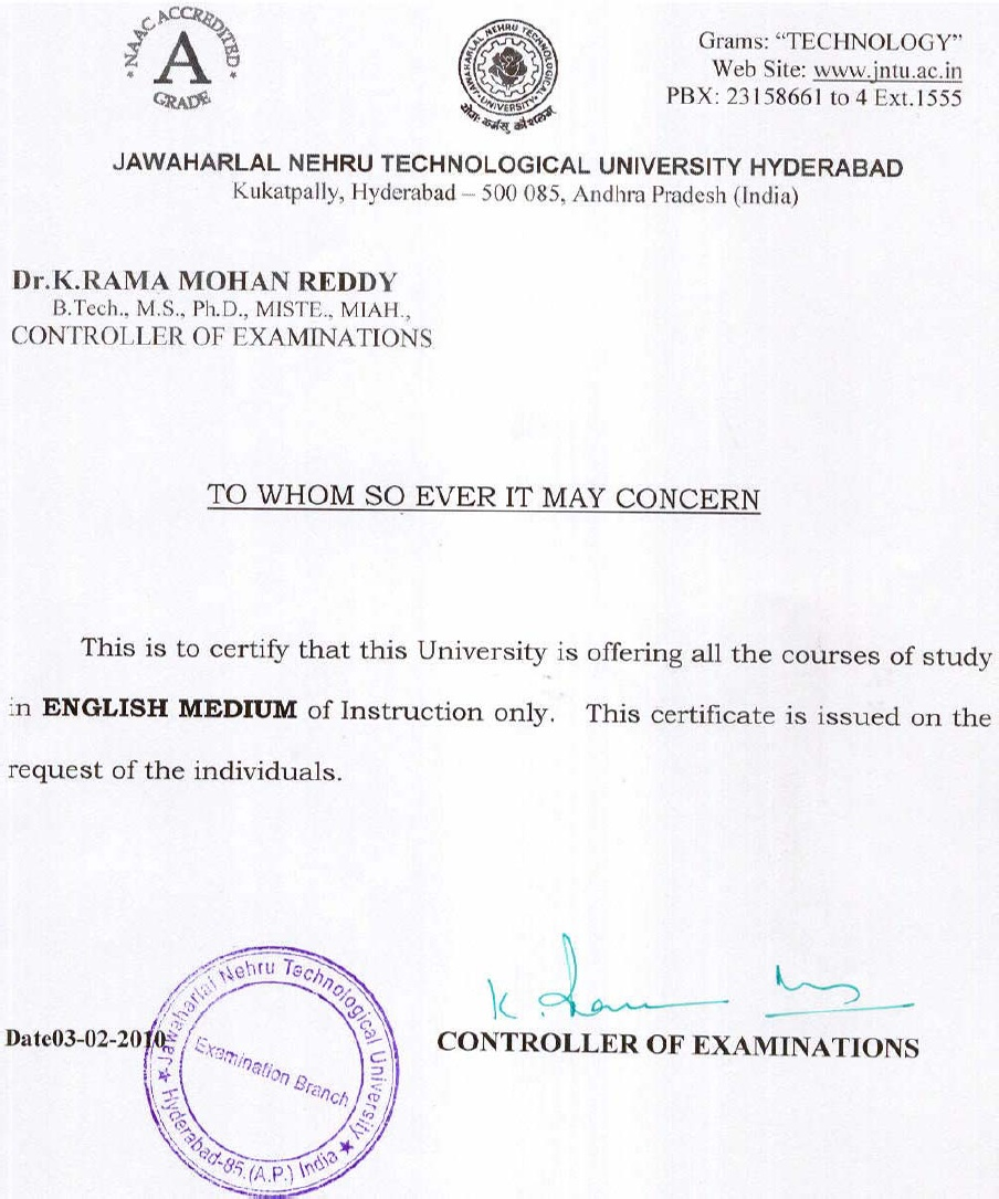 Jntuh procedure to obtain medium of instruction moi certificate jntuh moi certificateg altavistaventures Images