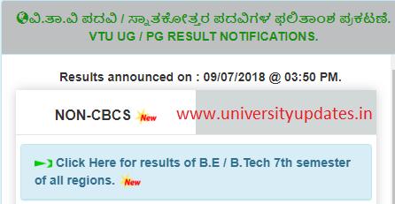 VTU : B E / B Tech 7th Semester (Non-CBCS) Examinations Results